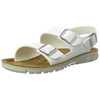 Amazon.com | Birkenstock Kano White Birko Flor Sandals Narrow Width | Sandals