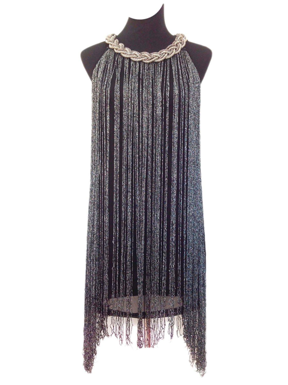 Vijiv Women's 1920s Gatsby Long Swinging Fringe Tassel Flapper Cocktail Dress, Black, Medium by Vijiv (Image #1)