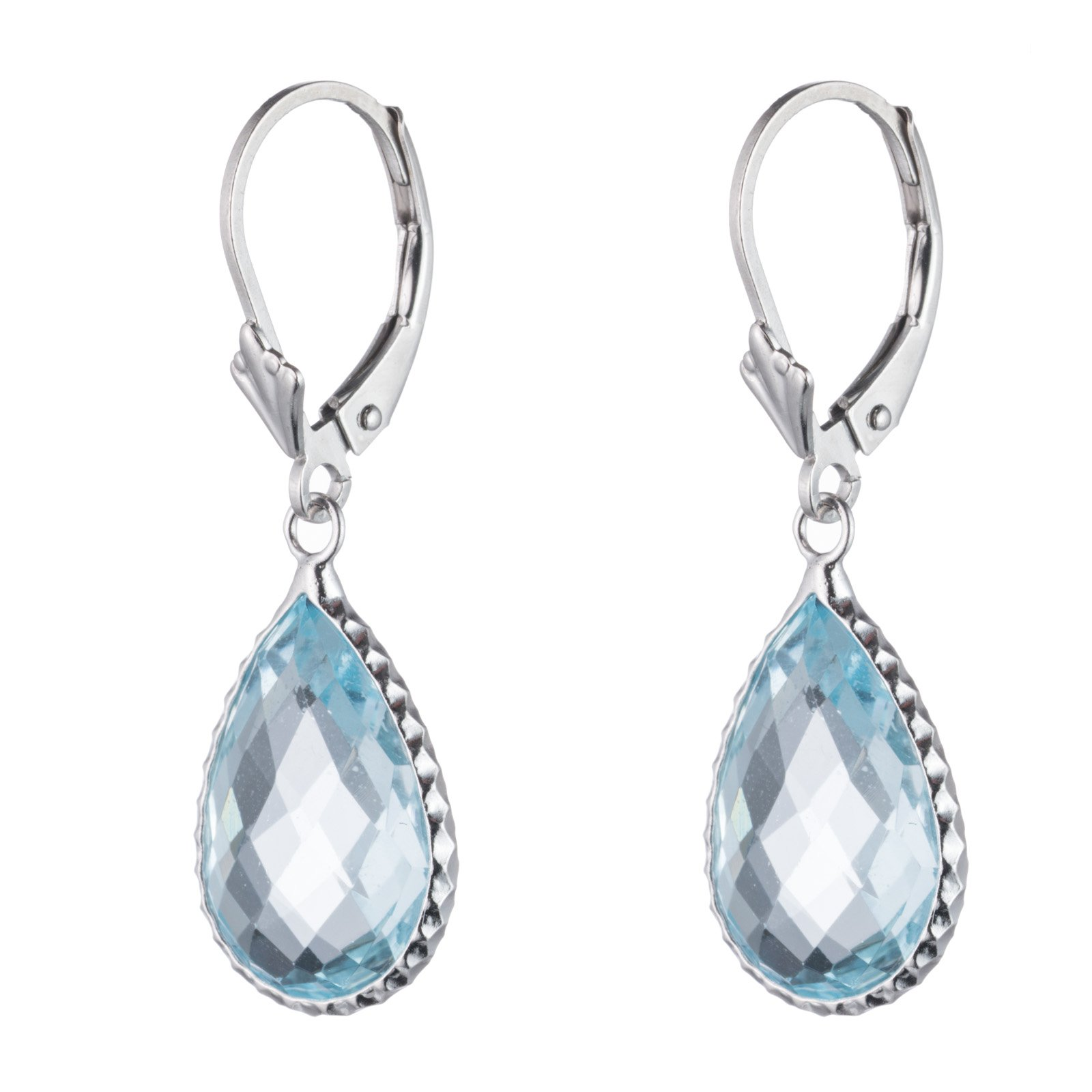 Sterling Silver Genuine Blue topaz Stone Earring, Lever Back Closure, Pear shape, Bezel wired by Glad Gold (Image #2)