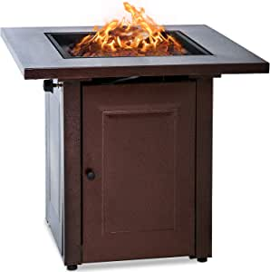 Vnewone Outdoor Fire Pit Propane Gas firepit Table 48,000 BTU Gas Firepits Grill Outdoor Tabletop Fireplaces w/Strong Bronze Steel Frame for Camping Picnic Bonfire Backyard,Bronze