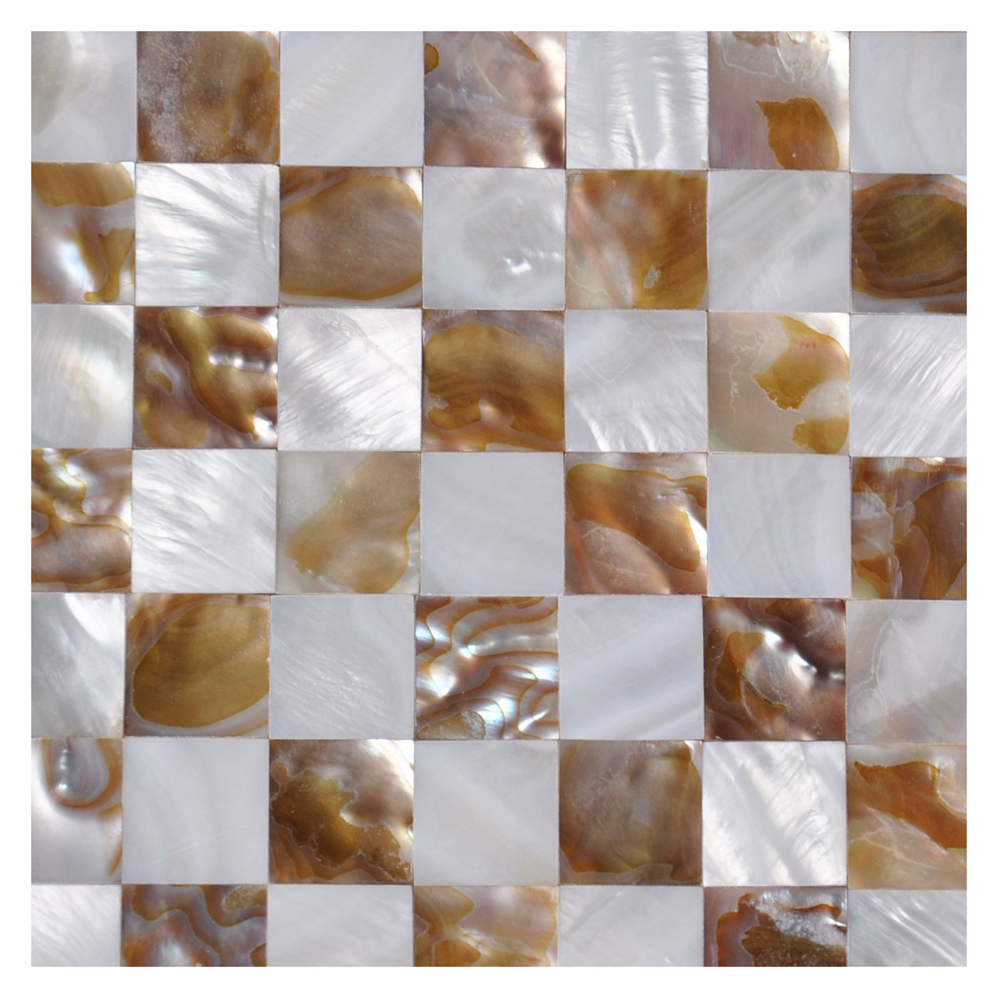 Art3d Mother of Pearl Mosaic Wall Tiles Natural Chess Board 6 Sq Ft Pack of 6