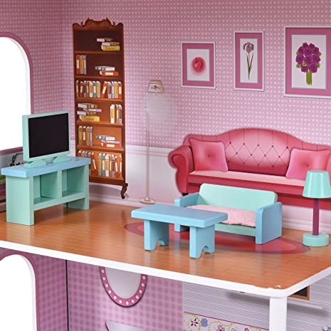 GYMAX Large Kids Doll House Wooden Pink 3 Floors W/ Ladder ...