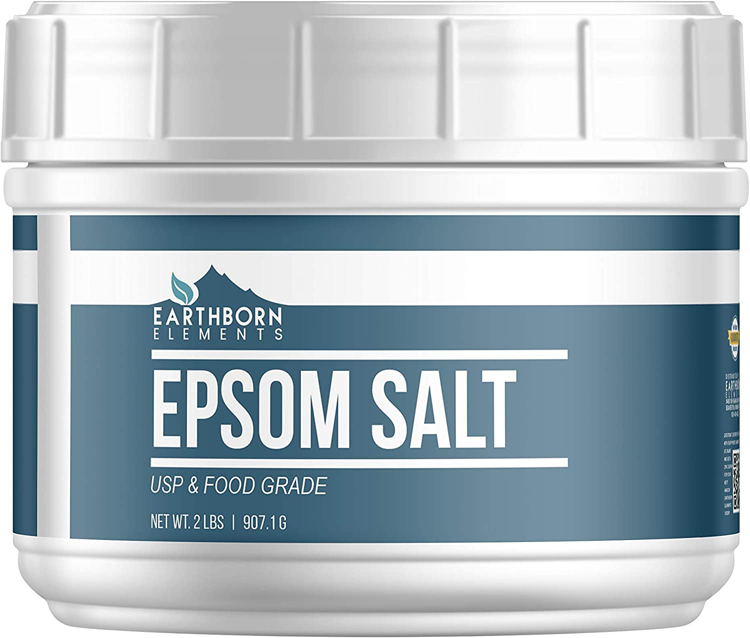 Epsom Salt (2 lb.) by Earthborn Elements, Resealable Tub, Magnesium Sulfate Soaking Solution, All-Natural, Highest Quality & Purity, USP Grade