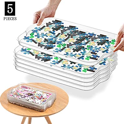 BLLKE 5 Pcs Puzzle Sorting Trays,Plastic Stackable Geometric Jewelry Tray Versatile Desk Organizer, Multifunctional Storage Tray with Anti-Skid Strip (Large): Toys & Games
