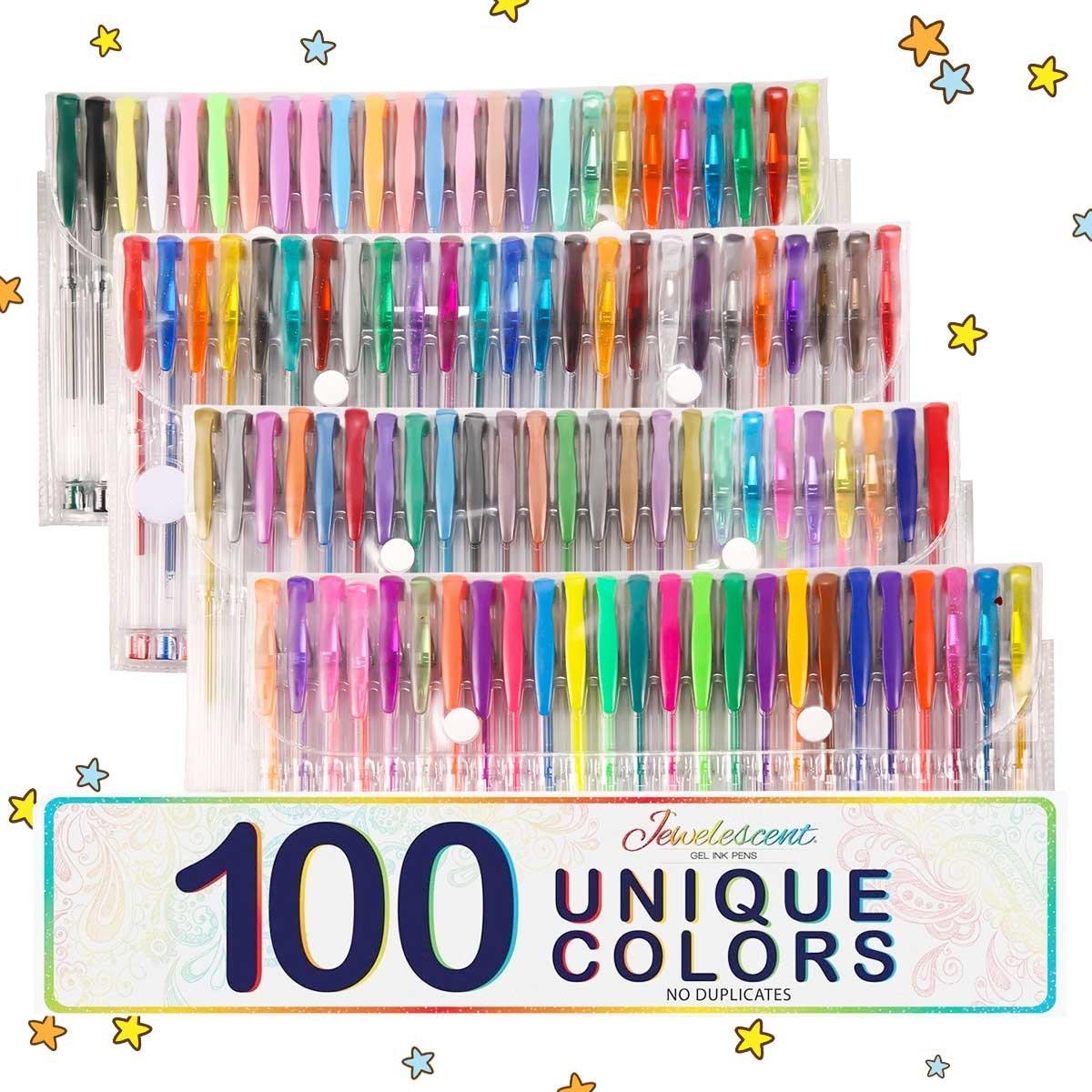 ARTISTORE 100 Penne Gel Colori Unici (senza duplicati) Penna Gel Set Idea regalo perfetta per adulti Libri da colorare Artigianato Scarabocchiare
