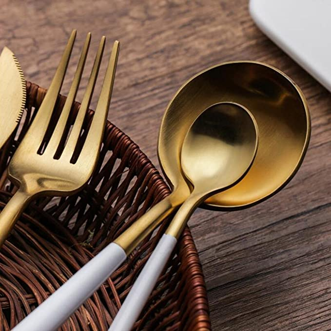AOLVO Cuberteria Dorada, 4 Piezas Juego de Cubiertos de Acero Inoxidable 18/10 con Cuchara Tenedor para Uso Diario o Viajes - Blanco Oro: Amazon.es: Hogar