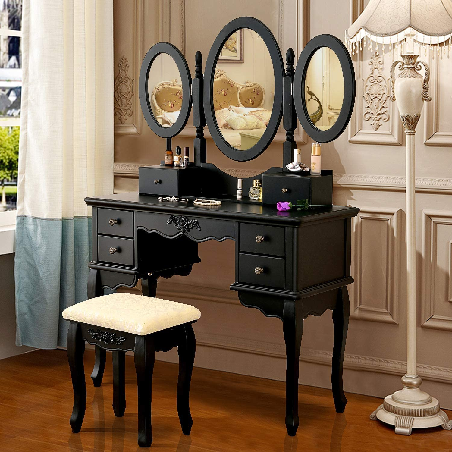 Vanity Makeup Table Set Tri-Folding Mirror Dressing Table with Padded Stool and 6 Drawers, Bedroom Vanity Table Writing Desk with Removable for Girls Women,Black