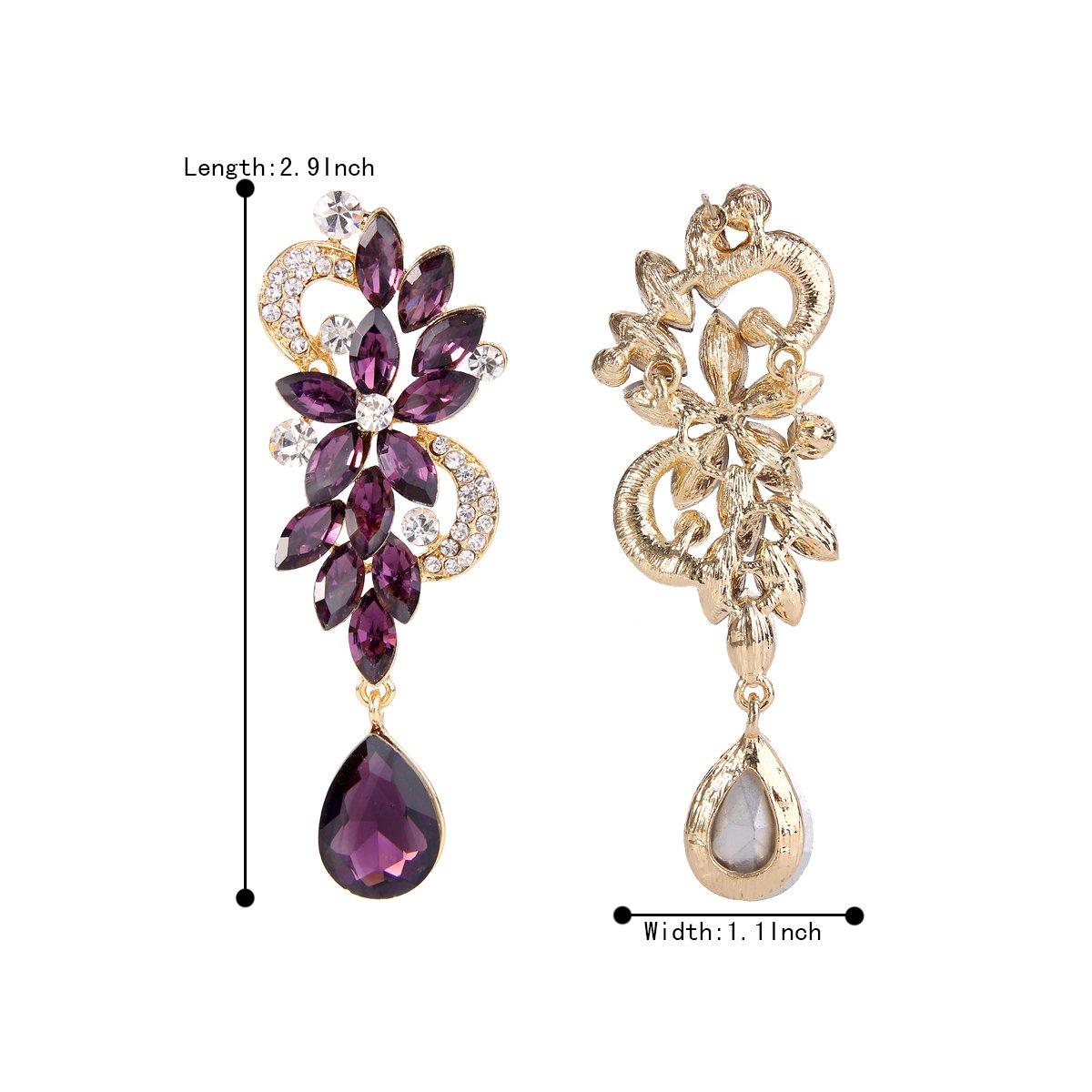 BriLove Women's Wedding Bridal Dangle Earrings Bohemian Boho Crystal Flower Chandelier Teardrop Bling Earrings Amethyst Color Gold-Tone by BriLove (Image #5)