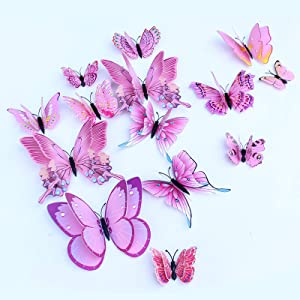 Somotersea 24PCS 3D Butterfly Wall Decals Removable Butterfly Decor for Girls Stickers Kids Bedroom and Room Decoration Art Mural Double Wings Pink
