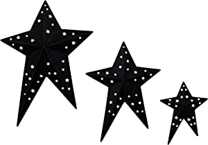 CVHOMEDECO. Primitives Rustic Vintage Gifts Black Punched Metal Barn Stars for Wall/Wreaths/Twigs Decor, 8/6/4 Inch, Set of 3