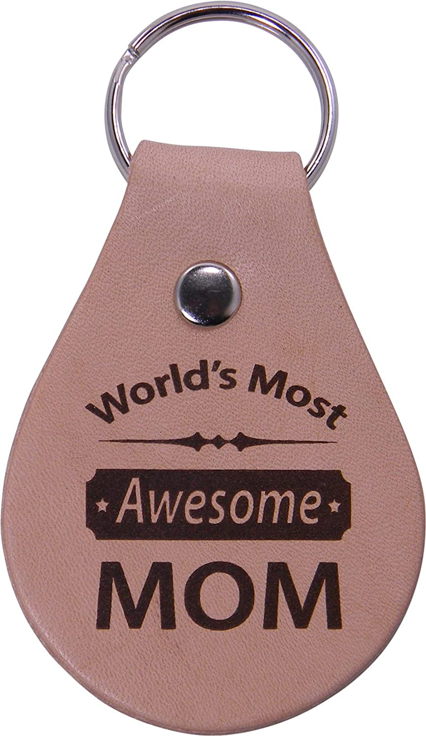Great Gift for Motherss Day Birthday or for Mom Grandma Wife CustomGiftsNow 1501-WMMOM Worlds Most Awesome Mom Leather Key Chain