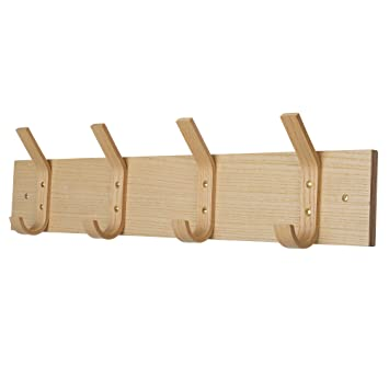 Perchero de pared de madera con 4 ganchos resistentes, para ...