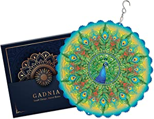 Wind Spinners Outdoor Metal Decorations | Stainless Steel Ornament for Peacock Mandala Garden Home Decor | Multi Color Metal Sun Catcher Boho Art for Tree Hanging, Backyard