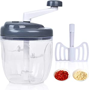 Supkiir Manual Food Chopper Mixer, 900ml Vegetable Cutter Food Processor with 5 Stainless Steel Blades and Egg White Separator for Fruits Vegetables Onion Meat Garlic