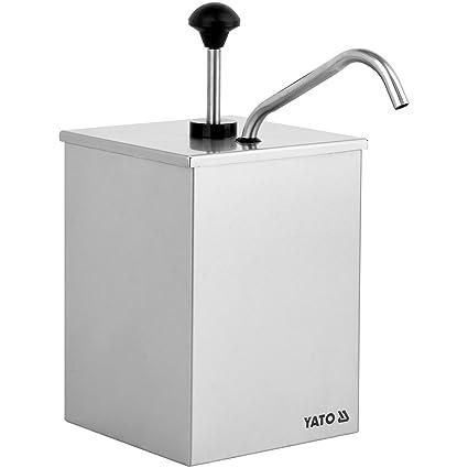 Dispensador de salsas Yato, de acero inoxidable, profesional, 3 litros (1 compartimento