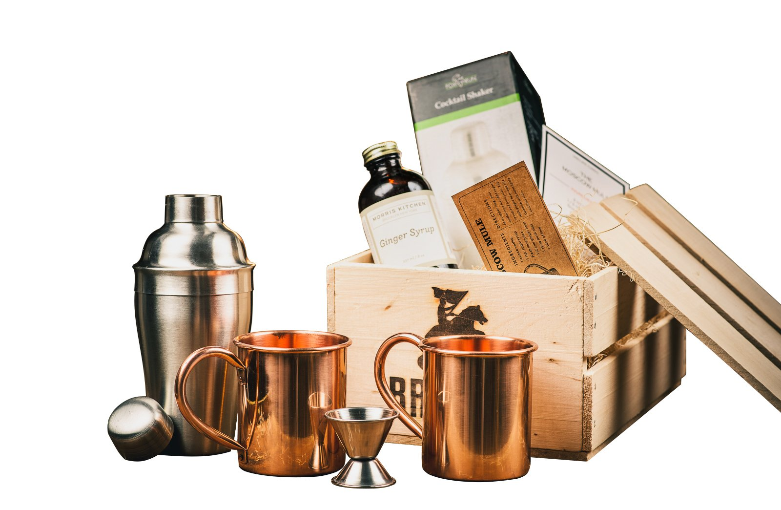 Moscow Mule Cocktail Kit Gift Set (Copper Mug Set 100% Pure Solid Copper) - Moscow Mule Bar Kit - Comes in A Wooden Gift Crate - Great Gift For Men - Cocktail Kit For Men by Broquet (Image #1)