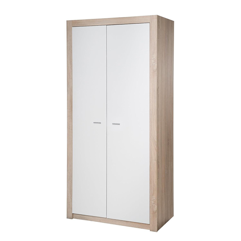 roba Kleiderschrank 'Leni 2', Schrank Babyzimmer, 2 Türen, Kleiderstange; Kinderzimmer, Eiche sägerau/weiß
