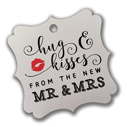 Summer-Ray 100pcs Cream/Ivory Elegant Square Hug & Kisses from the New Mr & Mrs Favor...