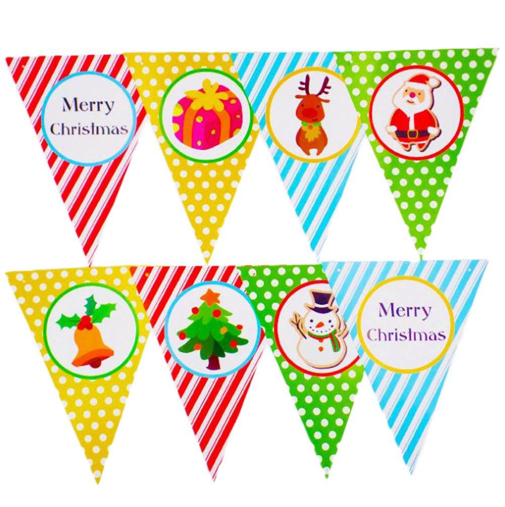 Wdoit 1PCS Natale striscioni color triangolo bandiera lettera banner party case alberi decorativi single-sided Papery 2.5meters, Style A, 20*25cm