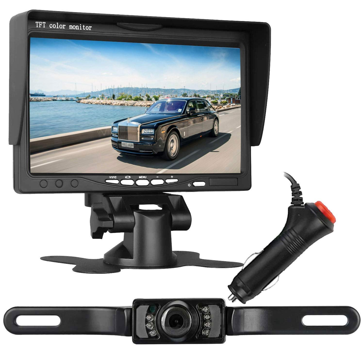 ZSMJ Rear View Backup Camera and TFT mirror Monitor Kit parking systems Single power for Rear view Fulltime View options for Car Vehicle Truck Van Caravan Trailers Camper (7 inch wired)