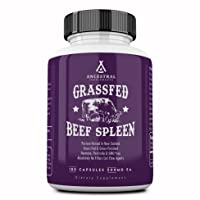 Ancestral Supplements Grass Fed Beef Spleen (Desiccated) — Immune, Allergy, Iron (5 X's More Heme Iron Than Liver)