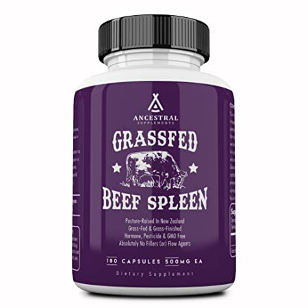 Ancestral Supplements Grass Fed Beef Spleen (Desiccated) — Immune, Allergy, Iron (5 X's More Heme Iron Than Liver) by Ancestral Supplements