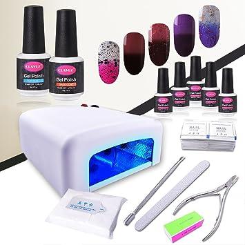 e9dcc4049f2 Gel Nail Polish Kit with UV Light CLAVUZ 5pcs Soak Off Gel Nail Polish Base  and