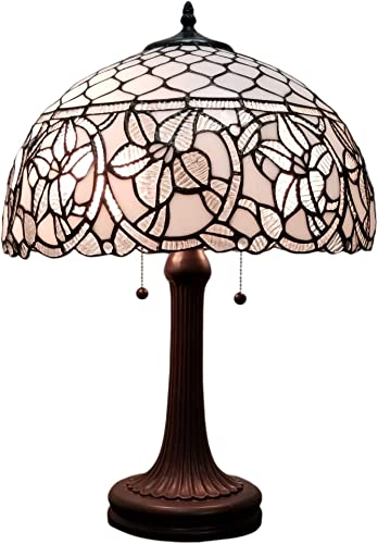 Amora Lighting Tiffany Style Table Lamp Banker 24 Tall Stained Glass White Mahogany Elegant Vintage Antique Light D cor Nightstand Living Room Bedroom Handmade Gift AM273TL16B