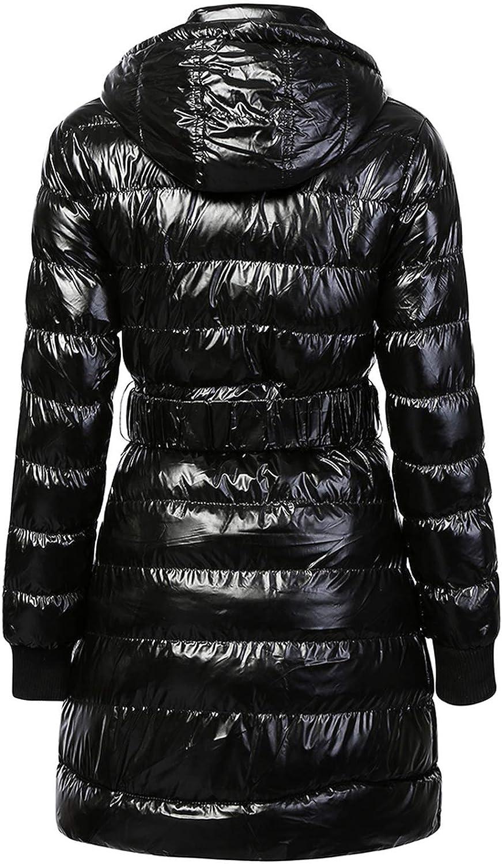 Deep Palpitation Women Winter Coat Manteau épais et Chaud en Duvet pour Femme avec Capuche et Ceinture Noir