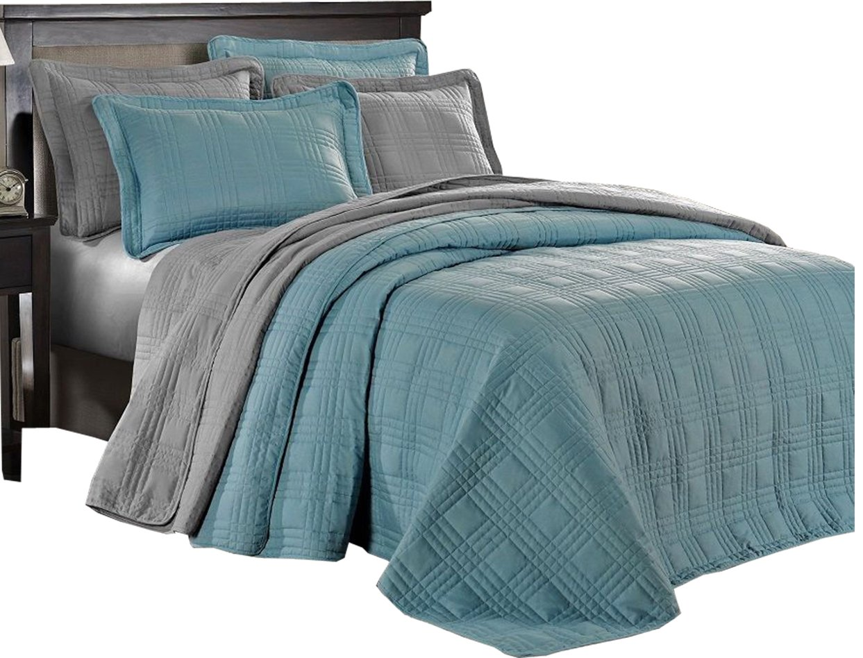 Eye Catching 3 Piece Soft Oversize Plaid Bedspread Coverlet (Queen, Spa Blue)