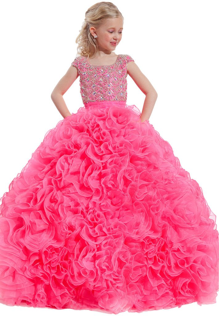 Yang Girls Ball Gowns Princess Beaded Glitz Kids Dance Pageant Dresses 14 US Pink