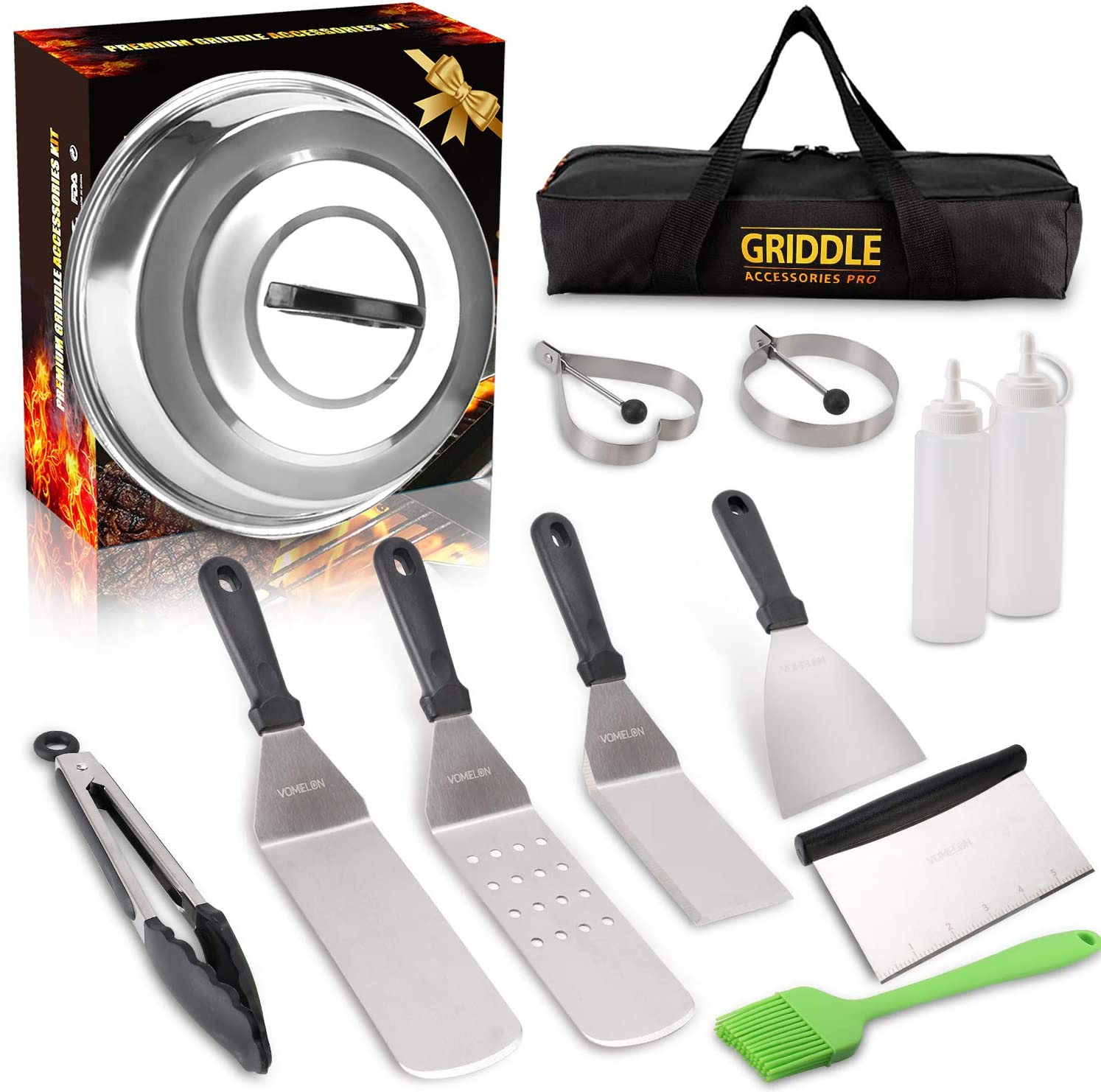 Vomelon Griddle Accessories Kit,Flat Top Griddle Tools Set for Camp Chef Grilling Hibachi Tool Set with Basting Cover Spatula, Scraper, Bottle, Tongs, Egg Rings Carring Bags-Black
