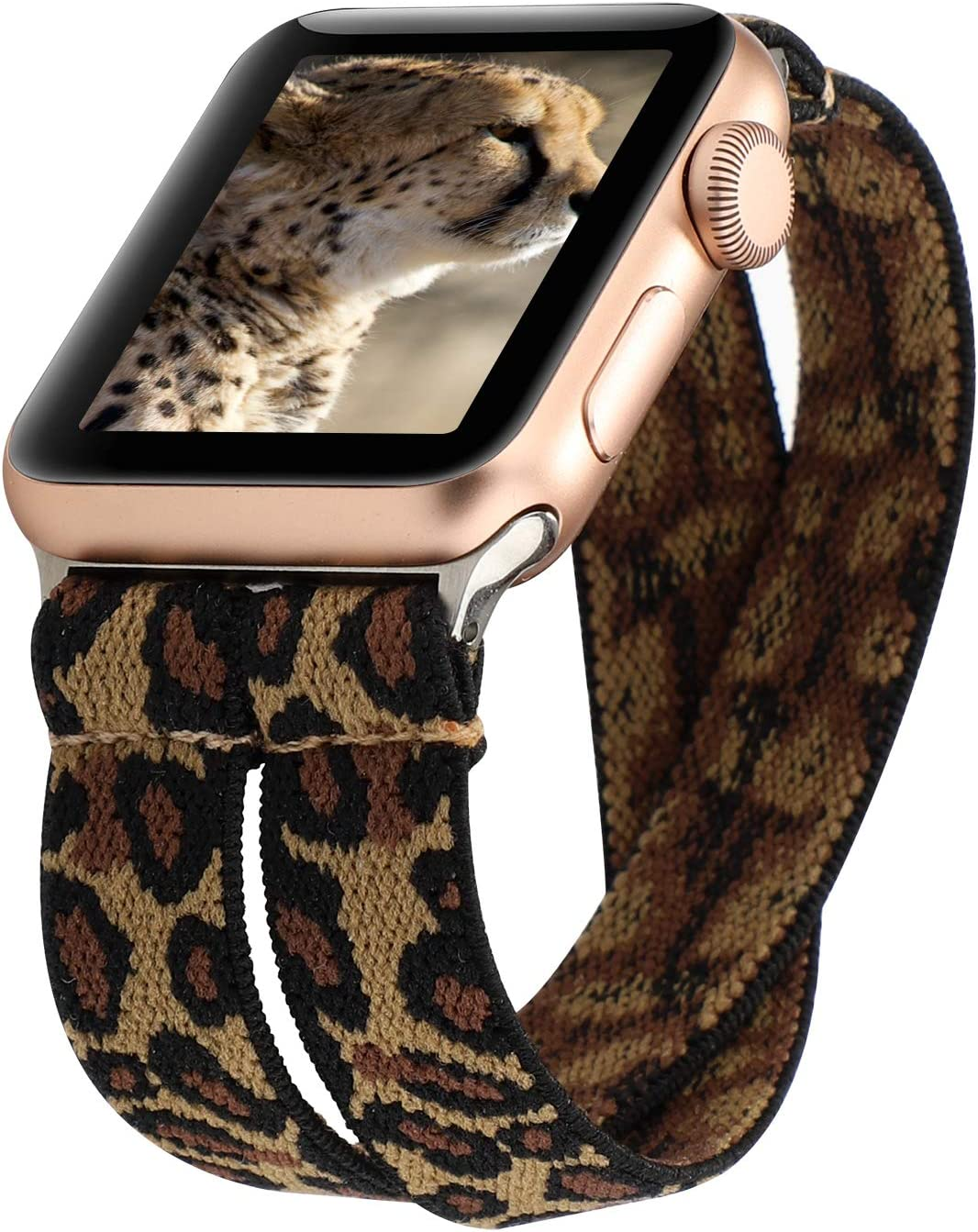YOSWAN Stretchy Loop Strap Compatible for Apple Watch Band 40mm 38mm 44mm 42mm iWatch Series 6/5/4/3/2/1 Stretch Elastics Wristbelt (Double Tour Cheetah, 38mm/40mm)