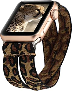 YOSWAN Stretchy Loop Strap Compatible for Apple Watch Band 40mm 38mm 44mm 42mm iWatch Series 6/5/4/3/2/1 Stretch Elastics Wristbelt (Double Tour Cheetah, 42mm/44mm)