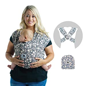 Baby K'tan Print Baby Wrap Carrier, Infant and Child Sling - Simple Pre-Wrapped Holder for Babywearing -No Tying or Rings- Carry Newborn up to 35 lbs, Floral Garden, M (W Dress 10-14 / M Jacket 39-42)