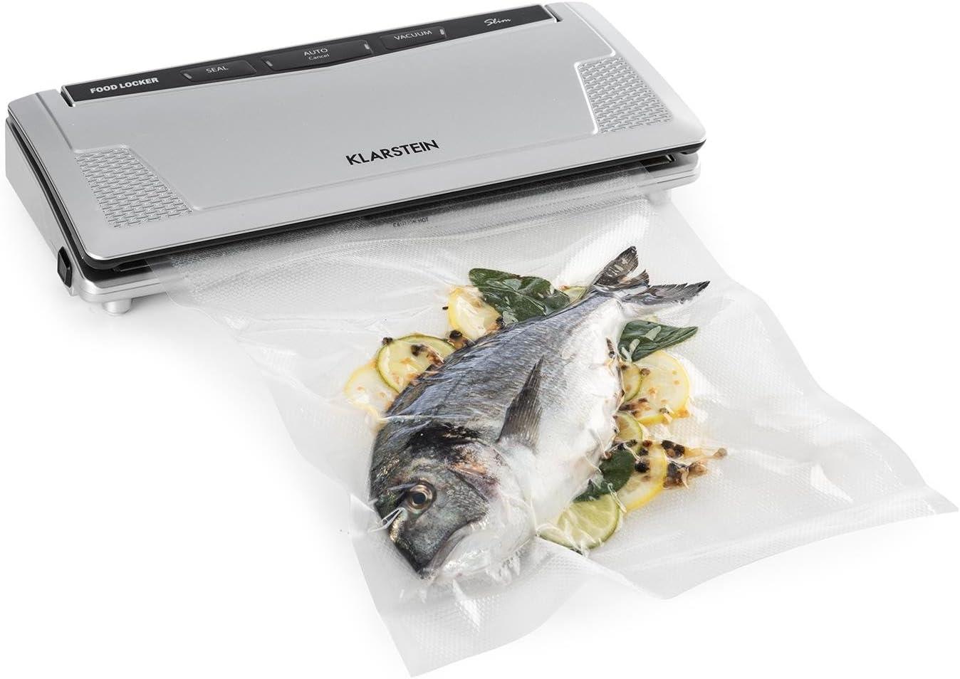 Klarstein FoodLocker Slim - Envasador al vacío, Máquina de vacío, 130 W, 9 L/min, Soldadura doble, Sous Vide, Automático, Control táctil, 10 x bolsas de vacío, Fácil limpieza, Plateado