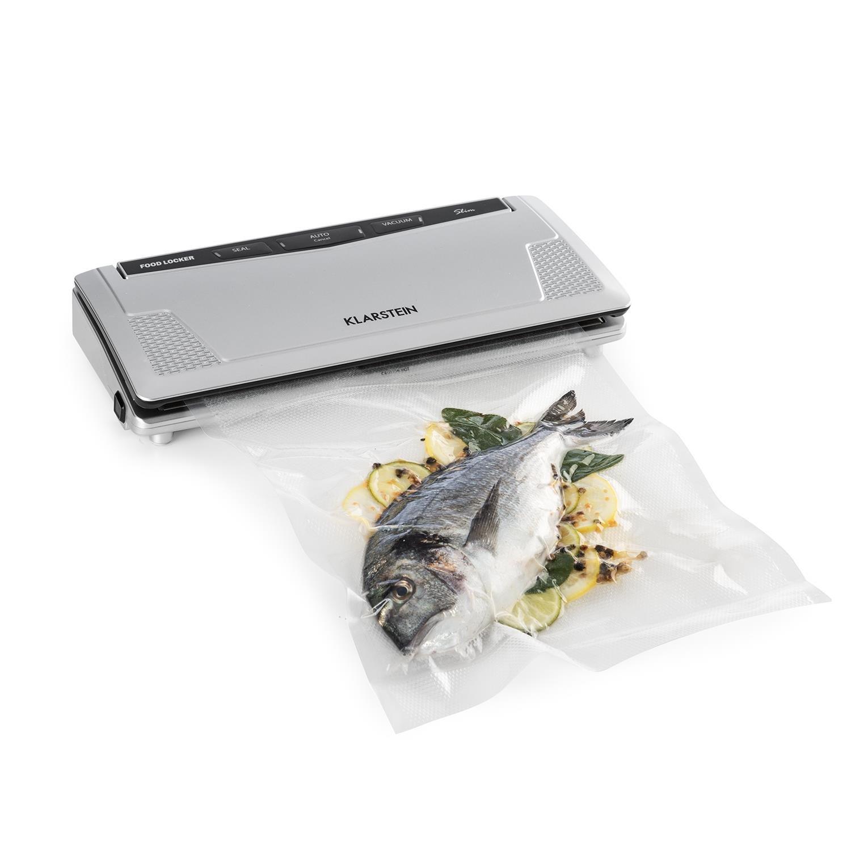Klarstein FoodLocker Slim machine à vide Puissance de mise sous vide de 130 watts Double soudure qui garantit une fermeture optimale et indéchirable Adapté pour la cuisson sous vide Adapté pour sacs et rouleaux jusqu'à 30 cm Anthracite