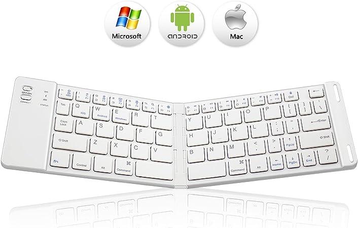 Teclado Bluetooth Plegable, SHEKAR Mini Teclado Portátil Plegable Bluetooth 3.0 para iOS, Android, Windows, PC, Tablets y Smartphone