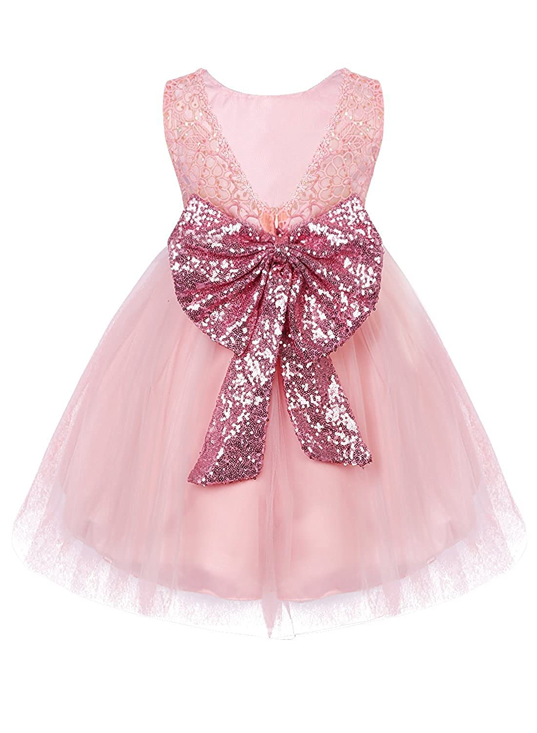 IWEMEK Baby Girls Sequins Bowknot Floral Princess Dress Wedding Birthday Gown