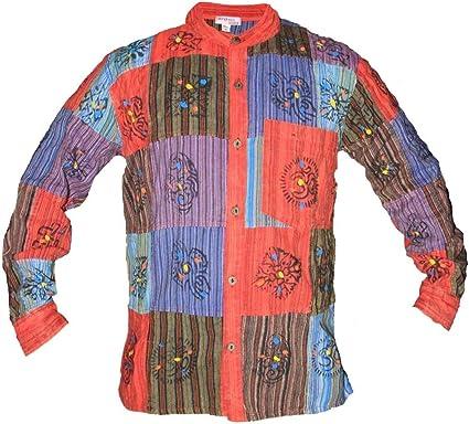Ezhippie - Camisa de Patchwork para Hombre con Botones completos: Amazon.es: Ropa y accesorios