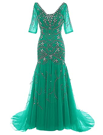 APXPF Mermaid Beaded Mother of Bride Dress with Sleeves Prom Gowns Green US2