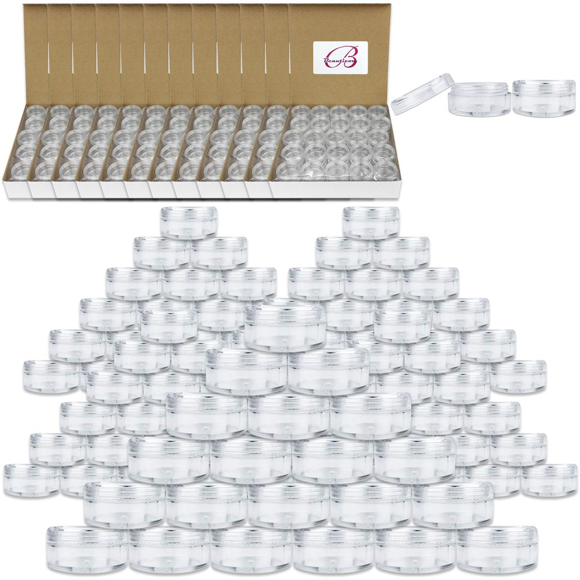 (2000 Pcs) Beauticom 5G/5ML Round Clear Jars with Screw Cap Lids for Cosmetics, Medication, Lab and Field Research Samples, Beauty and Health Aids - BPA Free by Beauticom