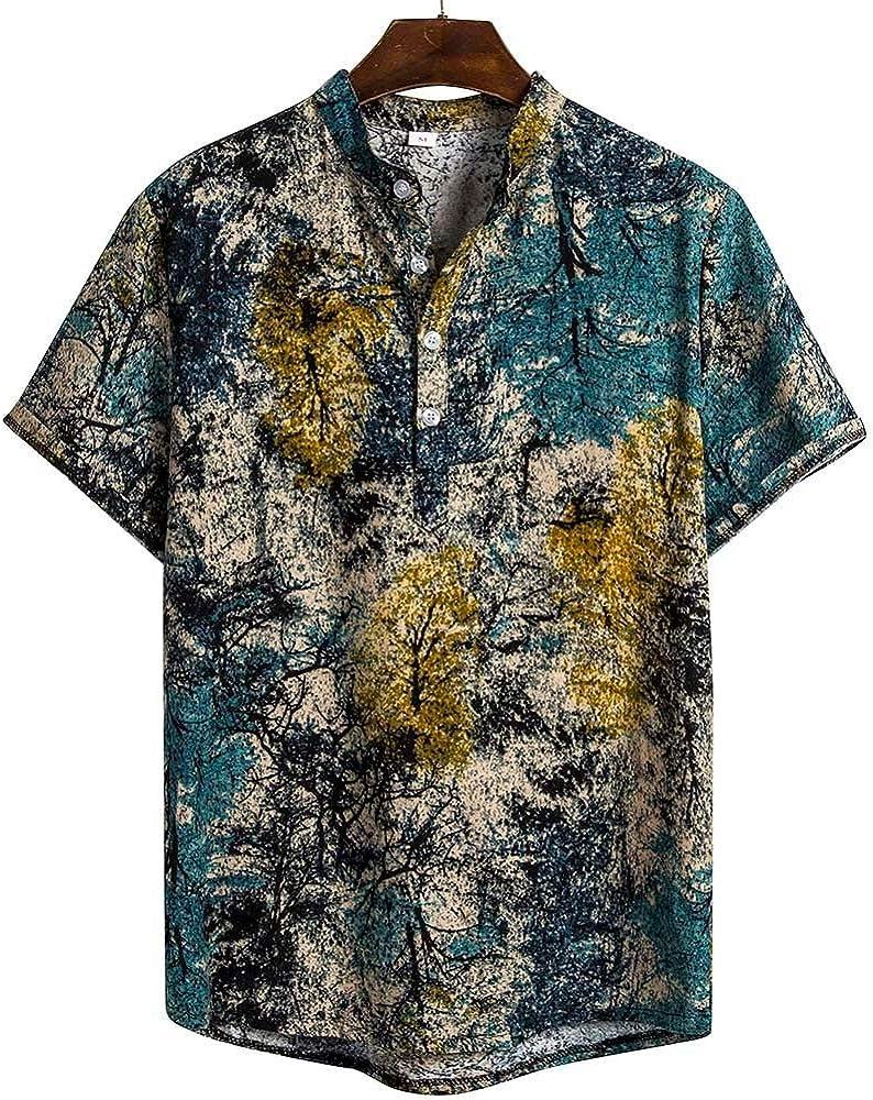Skang Camisa Hawaiana para Hombre, Original Manga Corta Botones Señores Regular Fit Étnico Camiseta Henley Blusa Vintage Verano: Amazon.es: Ropa y accesorios