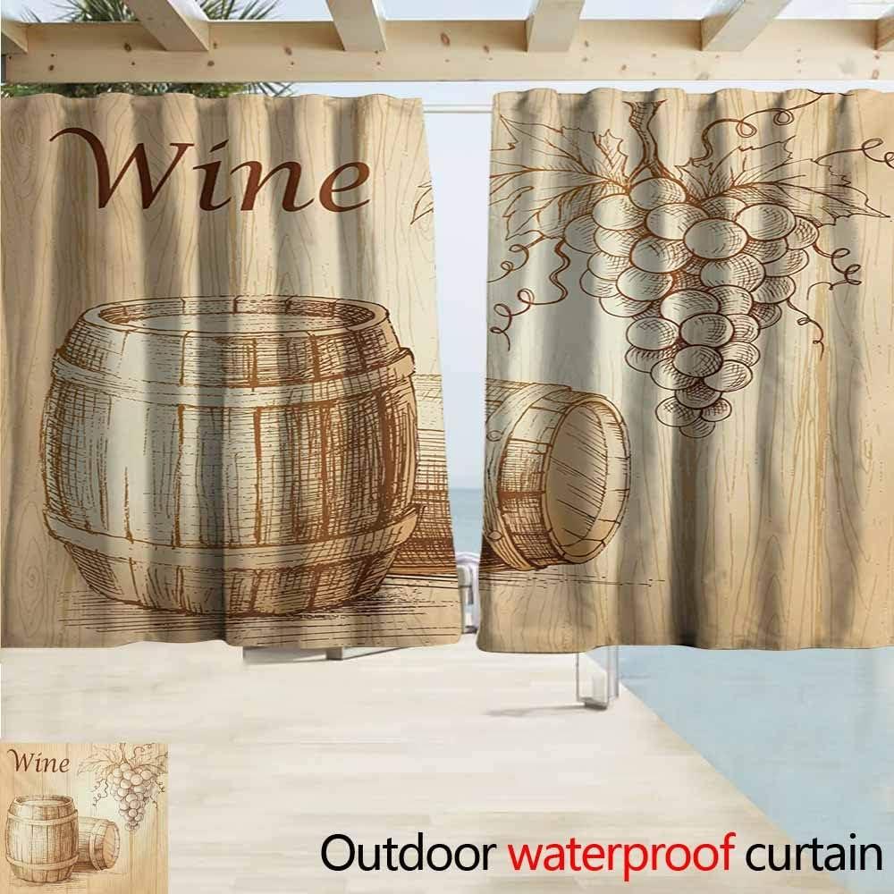 Cortinas de vino para exteriores, diseño de collage con motivos de vino sobre fondo de madera con uvas y carne, bebida rústica de campo, ahorro energético, oscurecimiento de habitación, color marrón, negro