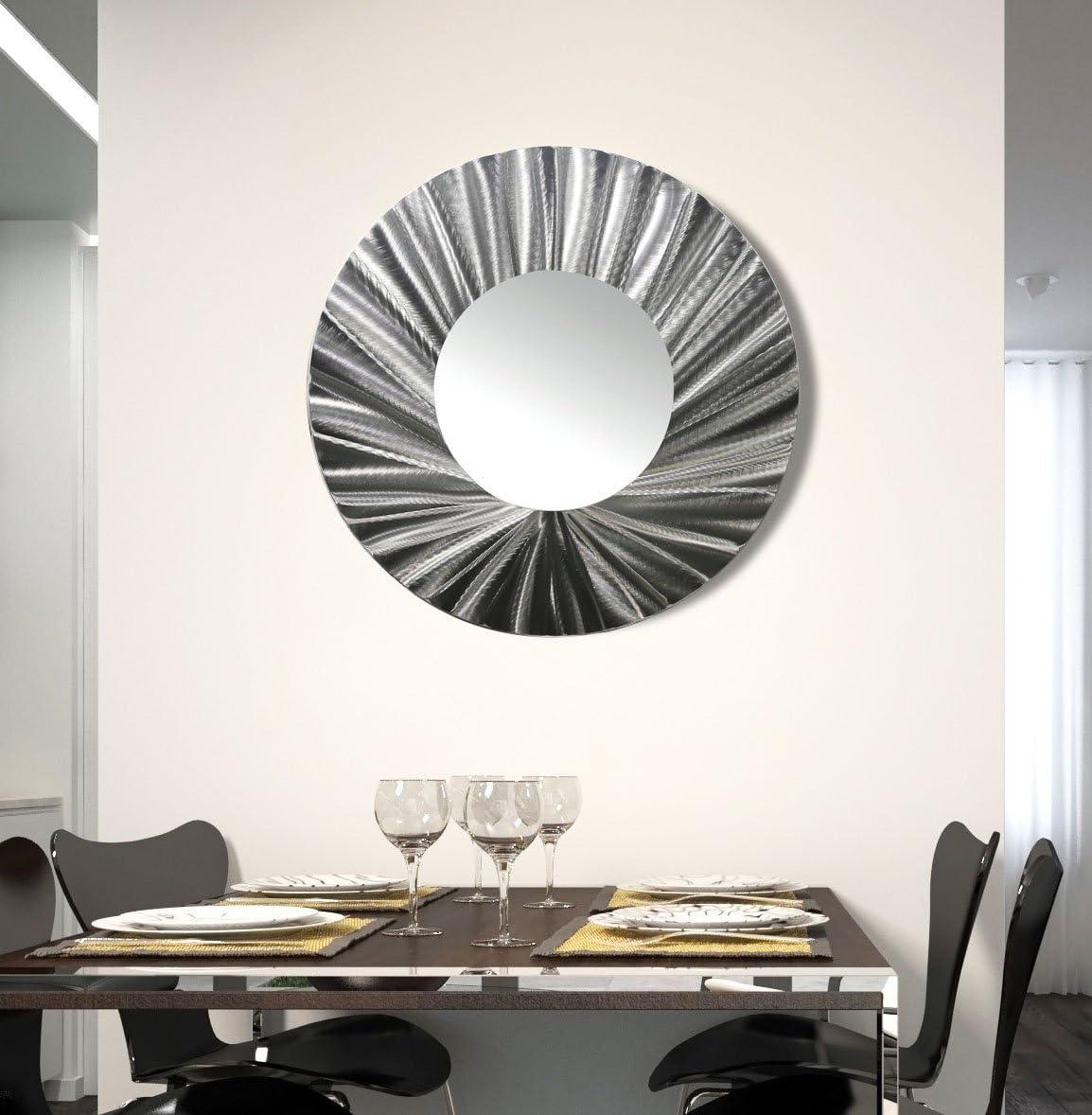 Statements2000 Round Decorative Metal Wall Mounted Mirror by Jon Allen, Silver, 23 – Mirror 118
