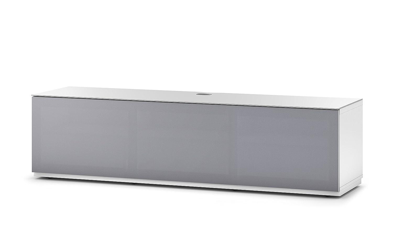 Sonorous STA 160T-WHT-GRY-BS stehende TV-Lowboard mit versteckten Rollen, weißer Korpus, obere Fläche, gehärtetem Weißglas und Klapptür mit grauem Akustikstoff