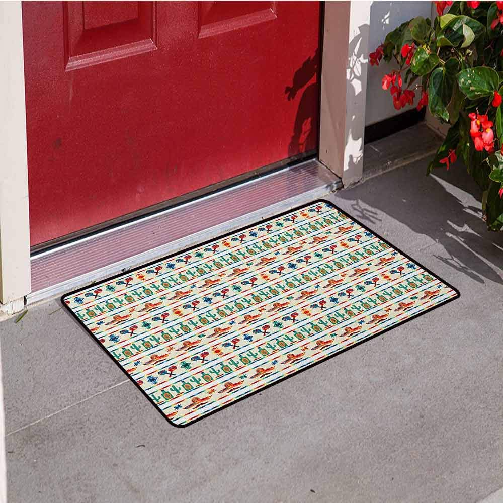 RelaxBear Mexican Front Door mat Carpet Latin American Cultural Native Borders Indigenous Saguaro Sombrero Tequila Bottle Machine Washable Door mat W29.5 x L39.4 Inch Multicolor by RelaxBear
