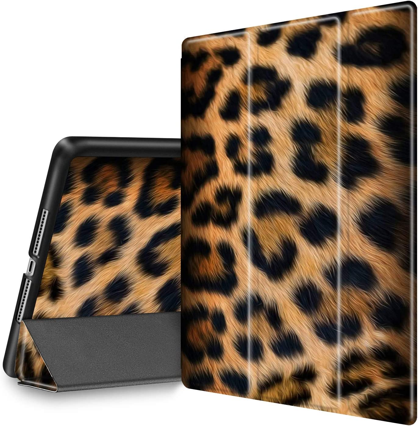iPad 9.7 2018/2017 Case, iPad Air 2/Air Case, Spsun Lightweight Folio Tri-fold Cover (with Pencil Holder) with Auto Wake/Sleep Smart Case for Apple ipad 6th/5th Gen - Leopard Skin
