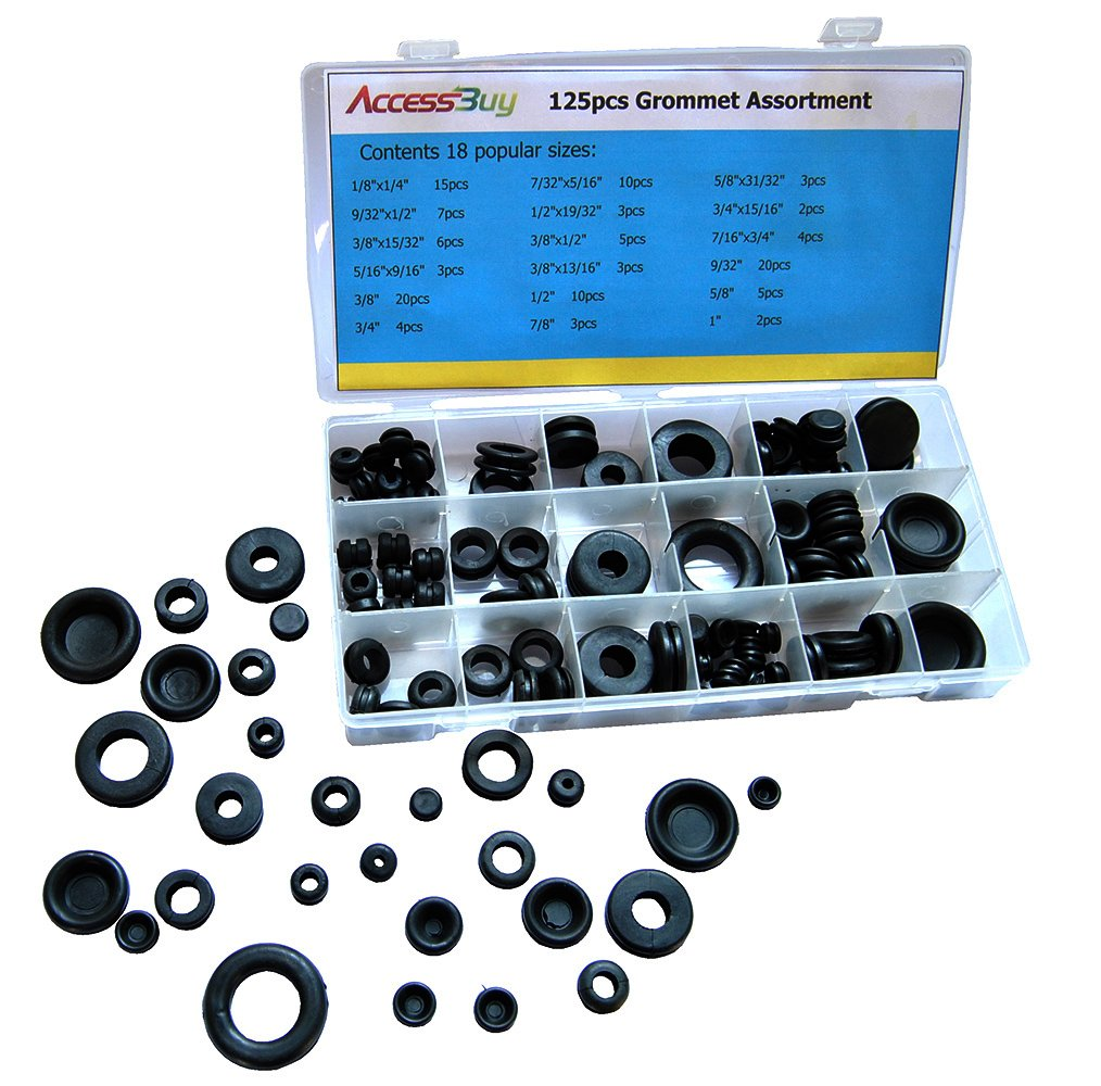 URlighting Rubber Grommet Assortment Set Electrical Gasket Tools 180 Piece Set of 8 Different Sizes with Organizer Case for Automotive Plumbing PC Hardware Piano Repair