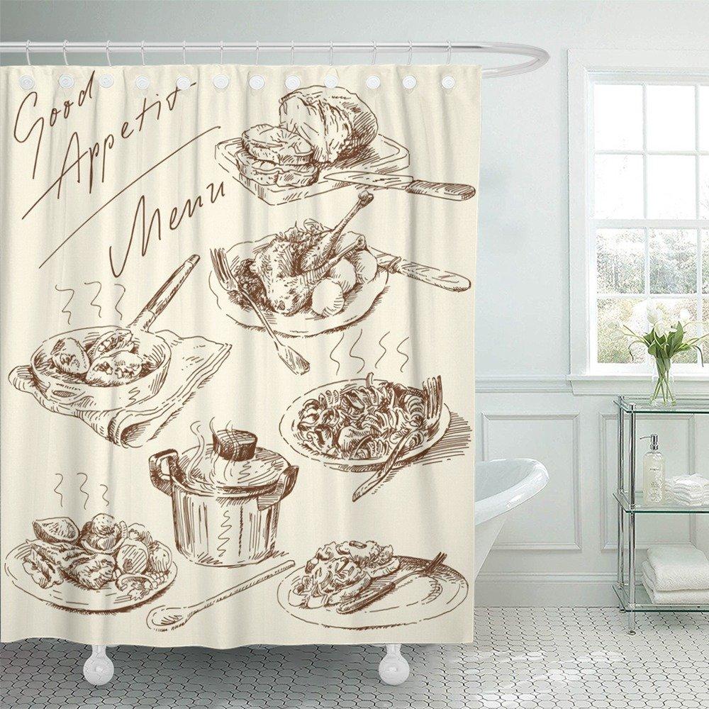 Emvency Shower Curtain 66x72 Inches Food Original Hand Drawn Pasta Italian Restaurant Meat Meal Retro Chicken Mildew Resistant Machine Washable